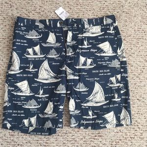 J.Crew sailboat pattern chino shorts (Brand New!)